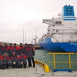 Ceremony for an offshore gas receiving terminal and a floating storage and regasification unit (FSRU) called Marshal Vasilevskiy by Gazprom